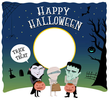 Halloween invitation template. Greeting card.Trick or treat.Cartoon monsters costumes