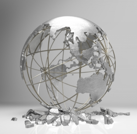 metal globe 3d render show the concept of earth crisis , global warming , economic crisis photo
