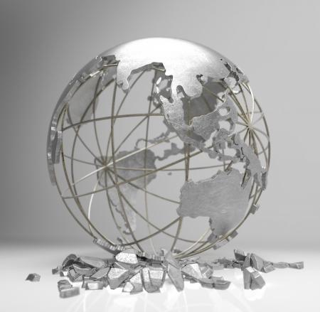 wirtschaftskrise: Metall-Globus 3d render zeigen das Konzept der Erde Krise, die globale Erw�rmung, Wirtschaftskrise