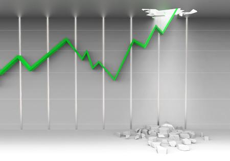 untitled key: stock chart breaking ceiling show bullish stock market Stock Photo