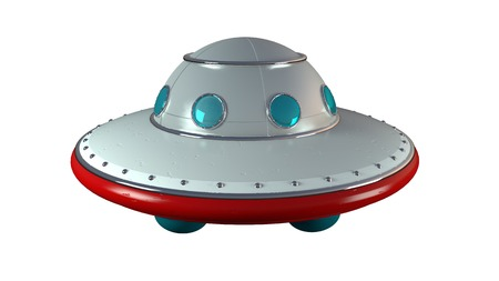 UFO unidentify object  from outer space in retro style with clipping mask photo