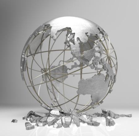 crisis economica: globo de metal 3d render el concepto de crisis de la tierra, el calentamiento global, la crisis econ�mica
