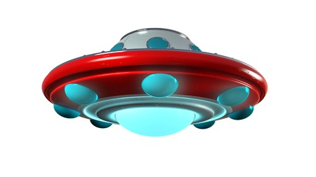 booster: UFO unidentify object  from outer space in retro style with clipping mask