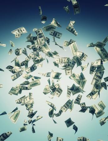 落下の紙幣を表す経済危機
