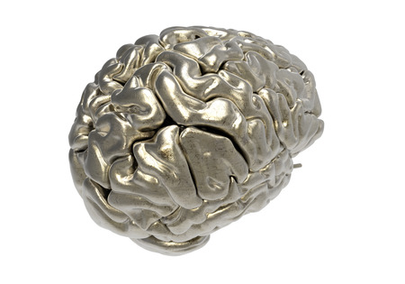 clipping mask: metallic brain on white background with clipping mask