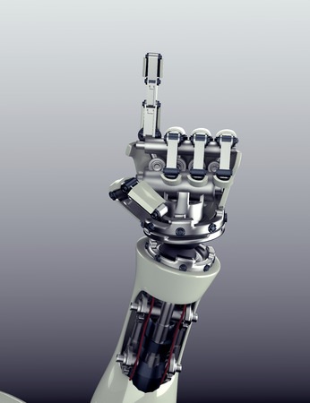 prosthetic equipment: 3d render of futuristic robot arm and hand gesture with clipping mask