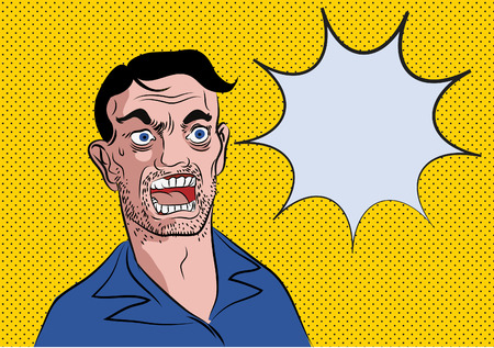 facial expressions: vector pop art style of surprise man with word bubble