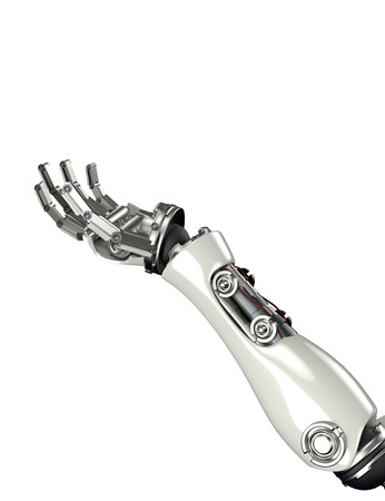 3d render of futuristic robot arm and hand gesture with clipping mask    Stock Photo