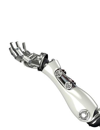 3d rinden de brazo robot futurista y gesto de la mano con máscara de recorte