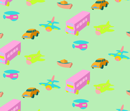 hand drawn style colorful bus,airplane,boat and car vector pattern