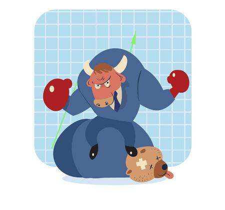 bearish business: vector cartoon illustration of bull win over bear in stock market