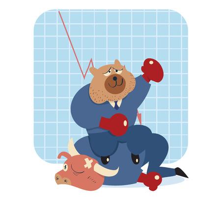 bearish business: vector cartoon illustration of bear win over bull in stock market