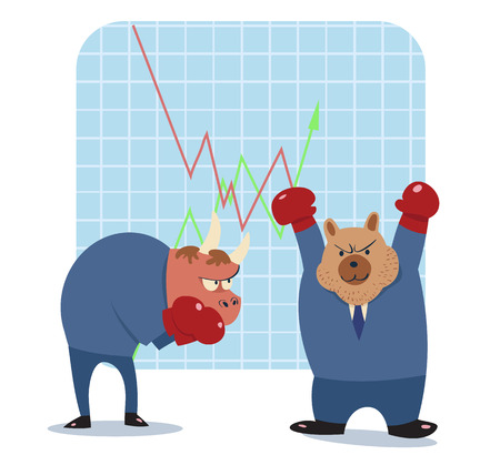 bearish business: vector cartoon illustration of bear  and bull ready to fight in stock market