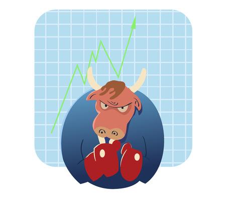 vector cartoon illustration of bull ready to attack  stock market   Иллюстрация