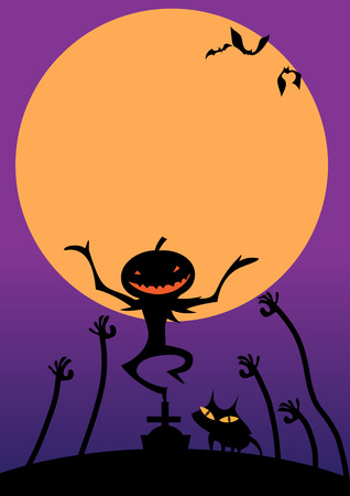 haloween: ilustraci�n vectorial de calabaza malvada y su gato de nuevo se siente feliz en haloween noche en la plantilla del cartel Vectores