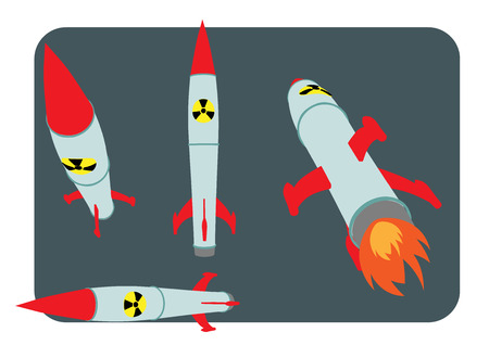 atomic bomb: set of nuke nuclear atomic bomb vector illustration Illustration