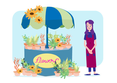small business woman: vector illustration of florist girl and her flower shop Illustration