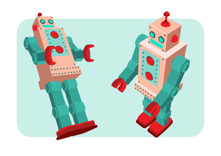 scifi: retro robot old toy collection in vintage style