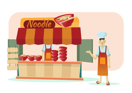asian noodle: asian noodle shop and chef Illustration