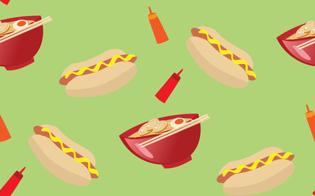 ramen: seamless pattern illustration of everyday food ramen and hot dog