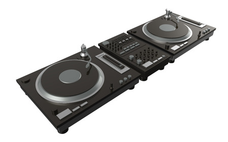simple rendering digital turntable  on white background with clipping path photo