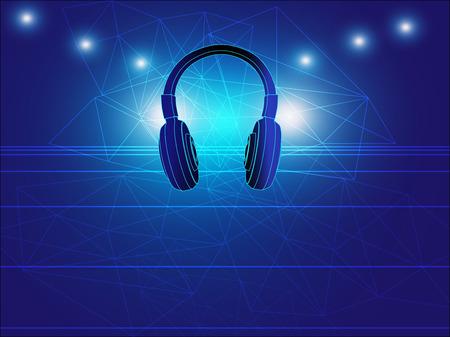 musique dance: casque techno background illustration vectorielle pour la techno dance music