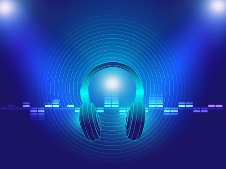 dance music: hoofdtelefoon techno achtergrond vector illustratie voor techno dance muziek