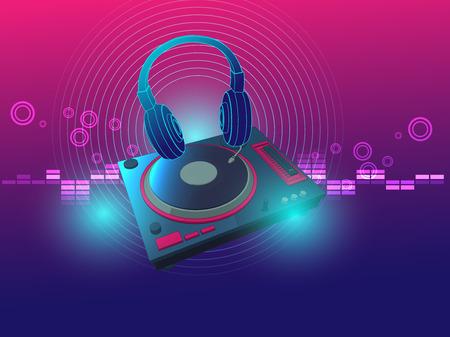 turn table: headphone dj turntable techno background vector illustration for techno dance music