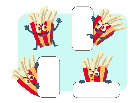 charactor: set of french fries cartoon act in 4 different pose for use as charactor presentation