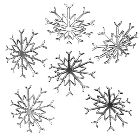clipping mask: Set of christmas snow flakes 3d render in different view isolated on white background and clipping mask