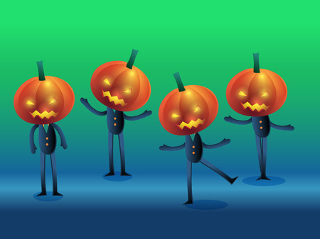set of scary jack o lanterns in different action on bluegreen background vector illustration