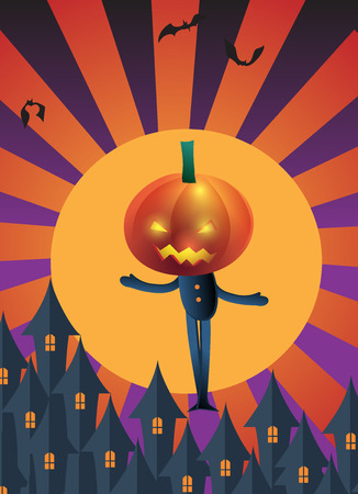 charactor: halloween party poster  , pumpkin head charactor on yellow sun background with dark castle