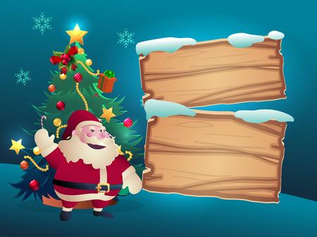 pannello legno: albero di Natale con il regalo e la decorazione e Babbo Natale nel cielo notturno luce con pannello in legno per il testo
