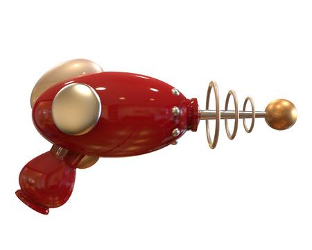 pistola: rojo vintage arma de rayo en el fondo blanco con máscara de recorte