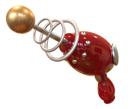 red Vintage Ray Gun on white background