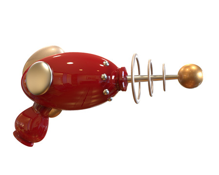 future technology: red Vintage Ray Gun on white background with clipping mask