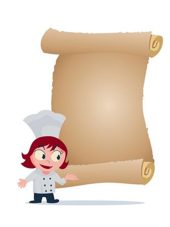 menu board: vector cartoon of girl chef standing infront of menu board