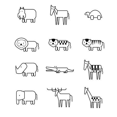 vereenvoudigen: set van 12 dieren icoon in Vereenvoudig stijl Stock Illustratie