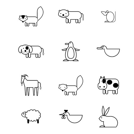 set of 12 animal icon in simplify style