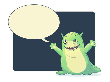 beastly: talking fat cute green slime  monster vector illustration for use as flyer,promotion graphic