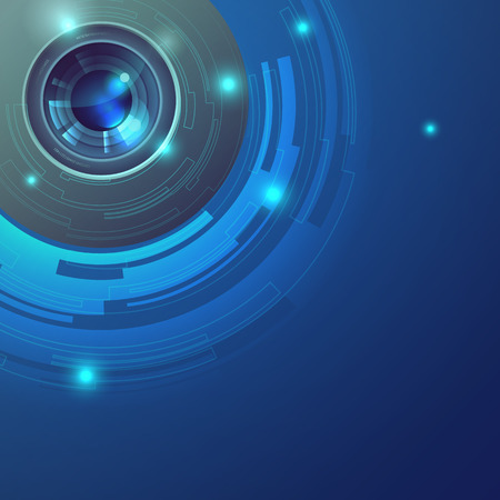 represent: blue lens vector abstract background represent futuristic and hi technology Illustration