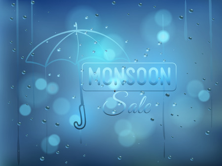 rain window: Rainy days,Rain drops on window,rainy weather,rain background,rain and bokeh vector illustration with finger drawing of umbrella