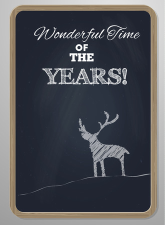 special event: chalk board with woodframe  and hand drawn deer new year or special event card