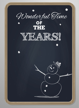 special event: chalk board with woodframe  and hand drawn snowman  new year or special event card