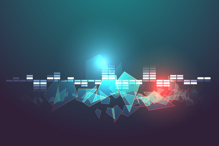 blue and red rectangle equalizer sound bar  abstract illustration Vector