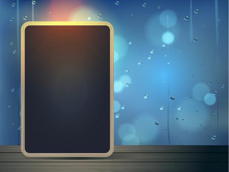 kropla deszczu: Tablica na podłogi z drewna z okna kropla deszczu tle ilustracji Ilustracja
