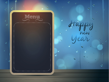 chalkboard menu on wood floor with raindrop window background with happy new year text vector illustration Vector