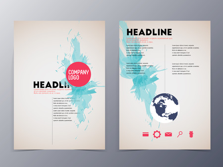 advertising template: blue graphic design element flyer template vector illustration for use as product presentation or company presentation