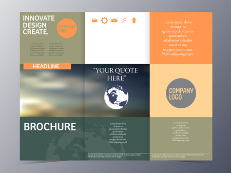 nformation: brochure template tri-fold vector illustration for use as product presentation or company annual report Illustration