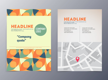 nformation: flyer template tri-fold vector illustration for use as product presentation or company annual report Illustration